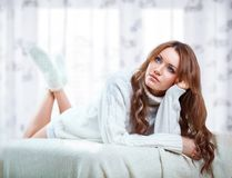 Beautiful sexy woman weraing sweater Royalty Free Stock Images