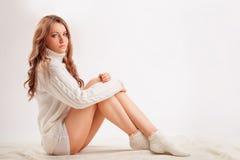 Beautiful sexy woman weraing sweater Stock Photo