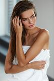 Beautiful Sexy Woman With Wet Long Hair. Hair And Body Care. Hair And Body Care. Portrait Of Beautiful Young Female Model After Bath. Closeup Of Sexy Woman In Stock Photos