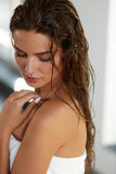 Beautiful Sexy Woman With Wet Long Hair. Hair And Body Care. Hair And Body Care. Portrait Of Beautiful Young Female Model After Bath. Closeup Of Sexy Woman In Royalty Free Stock Photography