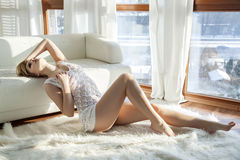 Beautiful and sexy woman in white lingerie Royalty Free Stock Photo