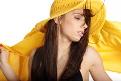 Beautiful woman in yellow hat and bikini Royalty Free Stock Photos