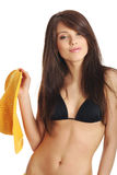 Beautiful sexy woman in yellow hat and bikini Royalty Free Stock Photo