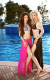 Beautiful sexy women posing in swimsuit. Bikini models with long Royalty Free Stock Photos