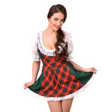 Beautiful sexy young brunette girl in traditional German costume Stock Images