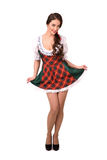 Beautiful sexy young brunette girl in traditional German costume Stock Photo