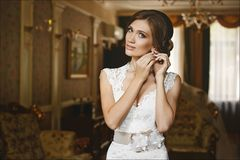Beautiful sexy young brunette woman, with blue eyes and bright evening make-up, with perfect slim body and big breast. Wearing a lace slim dress with decollete Royalty Free Stock Images