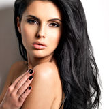 Beautiful sexy young brunette woman with long  hair Royalty Free Stock Images
