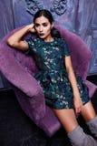 Beautiful young business woman hair evening makeup wearing stock photos