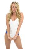 Beautiful Sexy Young Caucasian Pin Up Model Wearing Blue Lingeri Stock Photography