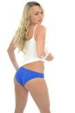 Beautiful Sexy Young Caucasian Pin Up Model Wearing Blue Lingeri Royalty Free Stock Photo