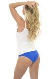 Beautiful Sexy Young Caucasian Pin Up Model Wearing Blue Lingeri Stock Photo