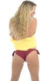 Beautiful Sexy Young Caucasian Woman Posing PIn Up In A Yellow S Stock Photos