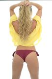 Beautiful Sexy Young Caucasian Woman Posing PIn Up In A Yellow S Stock Image