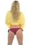 Beautiful Sexy Young Caucasian Woman Posing PIn Up In A Yellow S Stock Photo