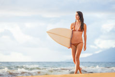 Beautiful sexy young surfer girl in bikini on the beach at sunse Stock Photography