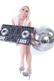 Beautiful Sexy Young Woman as DJ playing music on (pickup) mixer. Stock Photography