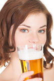 Beautiful and sexy young woman drinking beer Royalty Free Stock Photo