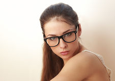 Beautiful sexy young woman in fashion glasses Royalty Free Stock Images
