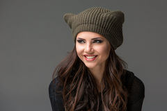 Beautiful sexy young woman in a  funny hat with Stock Image