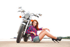 Beautiful, Sexy, Young Woman On A Motorcycle Royalty Free Stock Photography