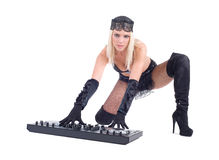 Beautiful Sexy Young Woman playing music on (pickup) mixer Royalty Free Stock Photos