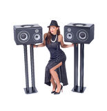 Beautiful sexy young woman posing with audio equipment Stock Images