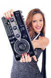 Beautiful sexy young woman posing with audio equipment. Stock Images