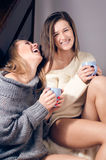 2 beautiful sexy young women sitting in a knitting sweater on a blanket drinking tea laughing looking at camera portrait. Picture of two pretty girlfriends Stock Photo