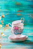 Beautiful shabby chic antique cups Royalty Free Stock Photo