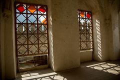 Interior, windows, shadows. Medieval fortress in the town of Khotin Western Ukraine. royalty free stock photo