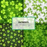 Beautiful Shamrock Patterns Set, Seamless Backgrounds For Saint Patricks Day Decoration Clover Ornament. Vector Illustration stock illustration