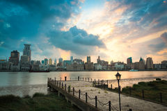 Beautiful shanghai bund at dusk. With old pier Royalty Free Stock Photo