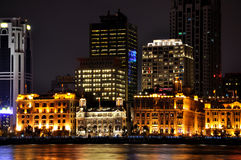 Beautiful Shanghai Bund night, China. Night view of Shanghai Bund historical and morden business buildings, beside Huang-pu river, shown as business city night Royalty Free Stock Images