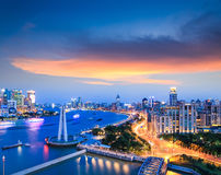 Beautiful shanghai the bund with sunset clouds Royalty Free Stock Photos