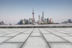 Beautiful Shanghai city landmark building and empty square Stock Photography