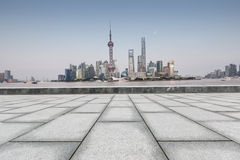 Beautiful Shanghai city landmark building and empty square Stock Photography