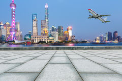 Beautiful Shanghai city landmark building and empty square Stock Photos