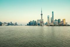 Beautiful Shanghai city landmark building in the evening Stock Images
