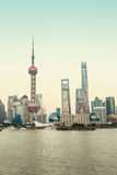 Beautiful Shanghai city landmark building in the evening Royalty Free Stock Images