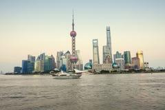 Beautiful Shanghai city landmark building in the evening Stock Photos