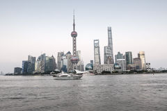 Beautiful Shanghai city landmark building in the evening Royalty Free Stock Photography