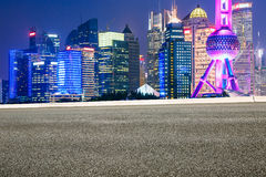 beautiful Shanghai city landmark buildings and roads Royalty Free Stock Images