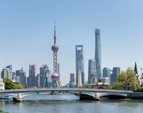 Beautiful shanghai cityscape. View from suzhou river, China Stock Image