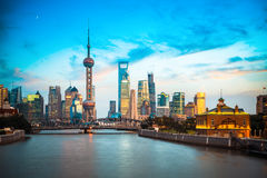 Beautiful shanghai in dusk,view from suzhou river Royalty Free Stock Photos