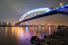 Beautiful shanghai lupu bridge at night Stock Images