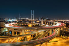 Beautiful shanghai nanpu bridge at night Royalty Free Stock Photos
