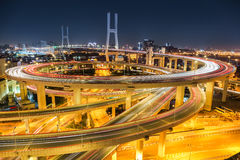 Beautiful shanghai nanpu bridge at night Royalty Free Stock Images