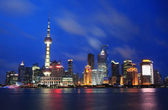 Beautiful Shanghai Pudong skyline at dusk Stock Photos