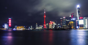 Beautiful Shanghai Pudong skyline at dusk. Shanghai night panorama over Huangpu River with skyline and urban buildings Royalty Free Stock Photography